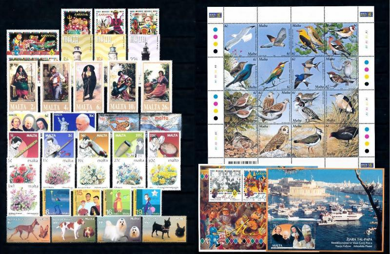 [51442] Malta 2001 Complete Year Set with Miniature sheets MNH