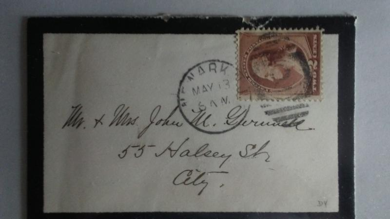 SCOTT # 210 POSTAL HISTORY 1883 SMALL MINI ENVELOPE WITH BLACK BOARDERS !!