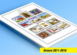 COLOR PRINTED GREECE 2011-2016 STAMP ALBUM PAGES (64 illustrated pages)