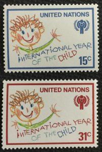 United Nations #310-311 MNH 2 Singles Cild/IYC Emblem SCV $.60 L22