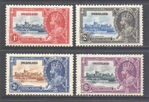 Swaziland Scott 20/23 - SG21/24, 1935 Silver Jubilee Set MH*