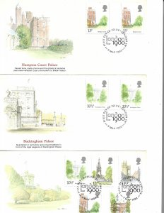 COLLECTION LOT OF 6 GREAT BRITAIN FDC 1980 2 SCAN