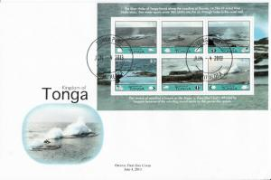 Tonga 2013 FDC Blow Holes 6v Sheet Cover Blowhole Houma Coral Reef