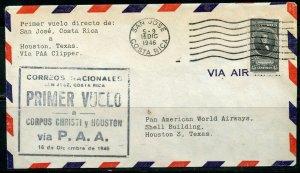 COSTA RICA SAN JOSE 12/16/1946 PAA CLIPPER FFC TO HOUSTON 12/17/46 AS SHOWN
