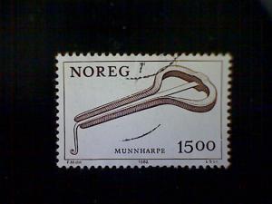 Norway (Norge), Scott #804, used (o), 1982, Folk Music Instruments, Harp, 15k