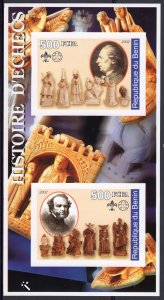 Benin 2002 HISTORY OF CHESS - SCOUTS AND GUIDES Souvenir Sheet IMPERFORATED  MNH