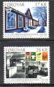 Faroe Islands Sc 648-9 2015 Jacobsebs Bookstore stamp set mint NH