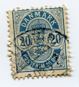 Denmark sc# 37 used color variety Deep Blue cv$60.00 scarce