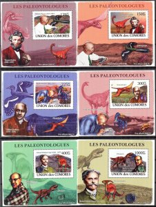{448} Comoros 2009 Paleontologists Dinosaurs 6 S/S Deluxe MNH**