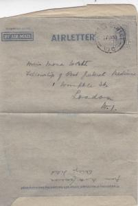 Australia 1950 Airletter 7d Aireys Inlet-London UK Fair Condition