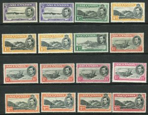 ASCENSION-1938-53 mounted mint set including all listed perf varieties Sg 38-47b