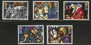 Great Britain Scott 1468-72 MNH** 1992 Christmas stained glass set