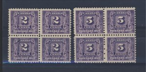 8x Canada P.D. MNG Stamps #J7-2c MNG VF, & #J9-5c MNG Fine Guide Value = $80.00