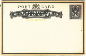 69066 - BRITISH CENTRAL AFRICA - POSTAL HISTORY -   STATIONERY CARD  H & G # 5