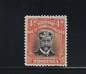 RHODESIA SCOTT #125 -1913-23 ADMIRAL 4D- DIE I  PERF 14 - MINT HINGED