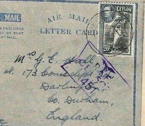 CEYLON Cover WW2 Air Letter *RAF CENSOR 451* Durham {samwells-covers}UU63