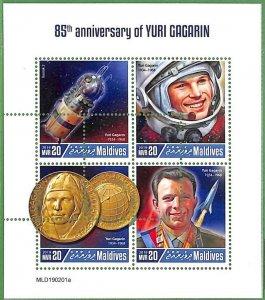 A2186 - MALDIVES - ERROR: MISPERF Miniature s - 2019, Astronomy, Space, Gagarin