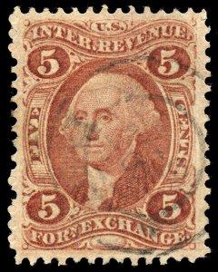 B378 U.S. Revenue Scott R26c 5c Foreign Exchange, handstamp cancel large margins