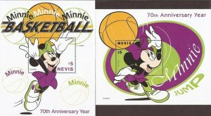 Nevis - 1998 Disney Characters Playing Basketball - Set of 4 S/S - Scott #1120-3