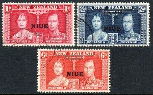 Niue 70-72, Used. Coronation. Queen Elizabeth and King George VI, 1937