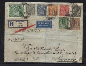 EAST AFRICA AND UGANDA (P0302B) 1931 KGV  8 VALUES REG A/M TO ITALY,  B/S