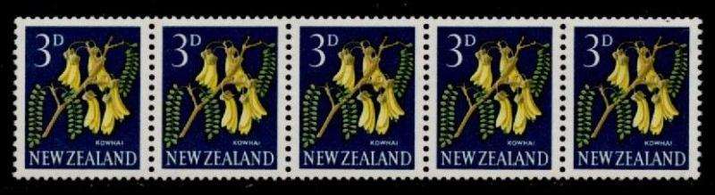 New Zealand 337e Coil Strip of 5 MNH Flowers, Kowhai