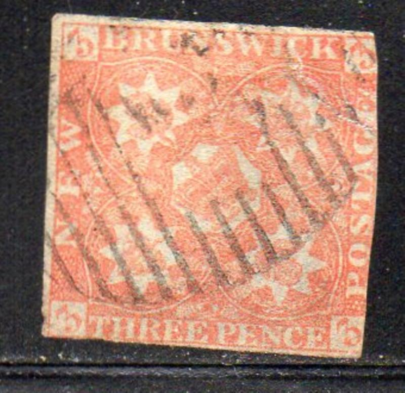 New Brunswick Sc 1 1851 3d red Crown & Heraldic Flowers stamp used