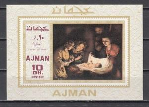 Ajman, Mi cat. 455, BL137. Adoration of Child, Religious Painting s/sheet