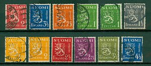 Finland 1937/42 Lion definitives with new design 75p to 4½m 2nd issue VFU Stamps
