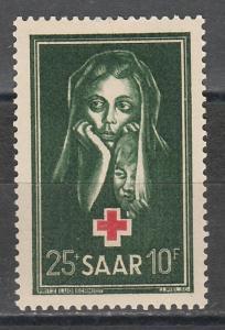 SAAR 1951 RED CROSS CHARITY 25+10PF MNH **