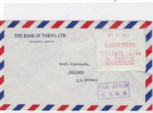 japan 1963 nagoya machine label airmail ref 10101