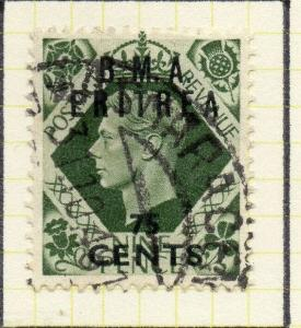 Eritrea 1948-50 Early Issue Fine Used 75c. Surcharged BMA Optd 308048