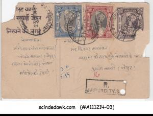 JAIPUR STATE - 1946 REGISTERED  POSTCARD UPRATED WITH STAMPS - USED
