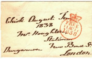 GB Wales Cover FREE *Marquess of Dungannon* *CHIRK* Handstamp Denbighs 1838 ZB32