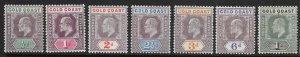 GOLD COAST SG38/44 1902 WMK CROWN CA SET TO 1/= MTD MINT