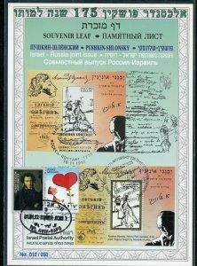 ISRAEL CARMEL #285  SOUVENIR LEAF OV'PTD 175th BIRTH PUSHKIN  HEBREW FD CANCELED