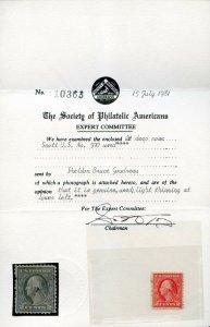 U.S. Used 2c Deep Rose Stamp Scott #500 Light Thinning w/ Cert #141527 X
