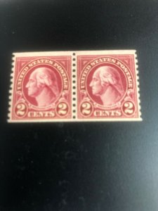 US Stamps # 599A F Scarce Type II Pair XF OG NH Catalog Value $425.00