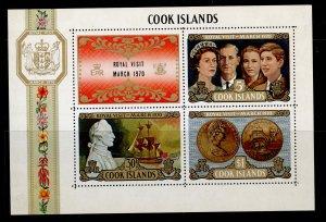 COOK ISLANDS QEII SG MS331, 1970 Royal Visit on New Zealand mini sheet, NH MINT.