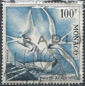 Monaco C41 (used, minor faults) 100fr Mediterranean sea swallows (1955)