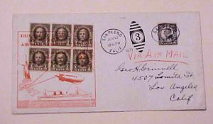 US  BLIMP FIRST MAIL  1931 JUNE 12 SAN PEDRO SHIP TO SHORE