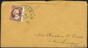 #11 RIGHT MARGIN COPY ON SEPT 27,1856 COVER BLUE SPRINGFIELD TOWN CANCEL BP8941