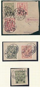 POLAND 1915-16 3 pieces with Warsaw Local Post stamps.......................A571