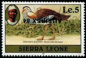 HERRICKSTAMP SIERRA LEONE Sc.# 638d Bustard Bird Stamp Inverted Ovpt.