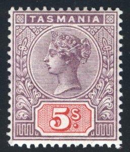 Australia Tasmania 1897 5s Lilac & Red SG 223 Scott 83 MVLH Cat £75($93)