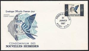 NEW HEBRIDES (French) 1967 5f Bird commem FDC :SG cat £28 as used..........68405