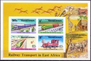 Tanzania. 1976. 62A-65A bl3. railway transport. MNH.