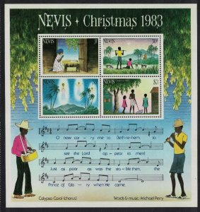 Nevis Music Christmas MS 1983 MNH SG#MS131