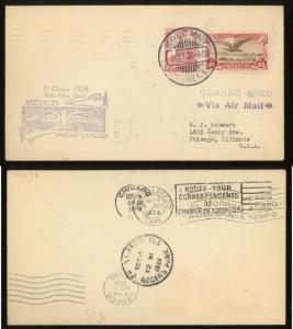 MEXICO  1928  First Flight  ~ Monterrey - Nuevo Laredo – Chicago  AAMC #9c