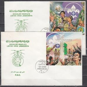 Libya, Scott cat. 1012-1013. Scouting Anniv. on 2 s/sheets. 2 First day covers.*